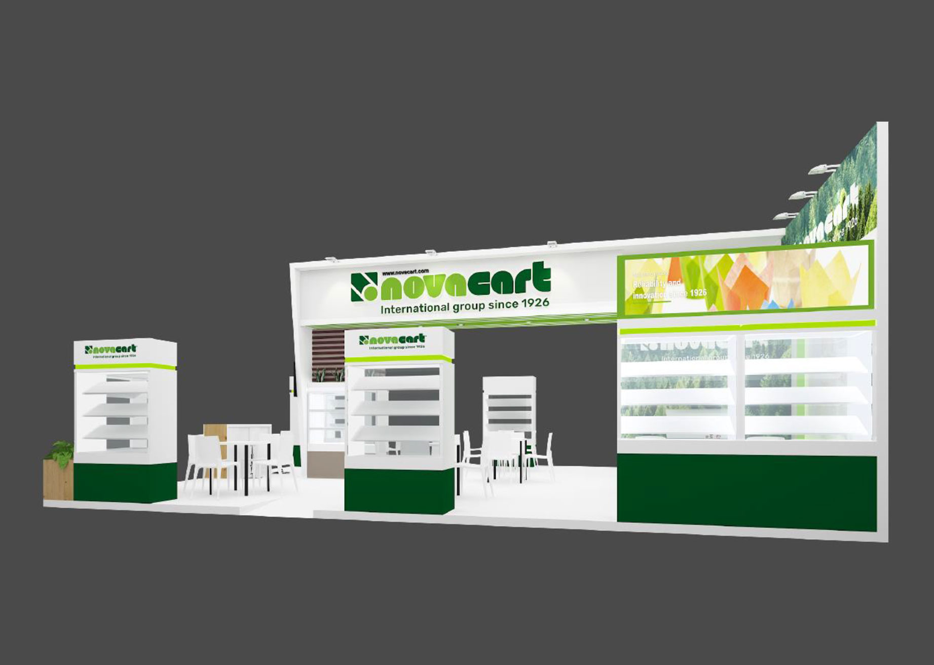 Gulfood Manufacturing Novacart stand from the side